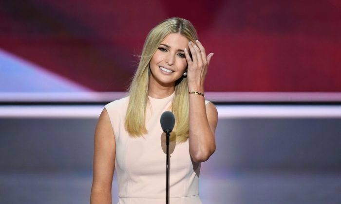 Ivanka Trump on the final night of the Republican National Convention at the Quicken Loans Arena in Cleveland, Ohio on July 21, 2016. (JIM WATSON/AFP/Getty Images)