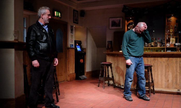 "(L–R) Ian (Declan Conlon) is meeting his boyhood friend Jimmy (Patrick O'Kane) in order to come to terms with events from the past, in Owen McCafferty's powerful drama, ""Quietly."" (James Higgins)"