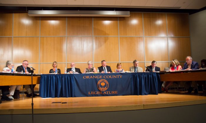 The Orange County legislature during its meeting on Aug. 4, 2016 at the Emergency Services Center in Goshen. (Holly Kellum/Epoch Times)