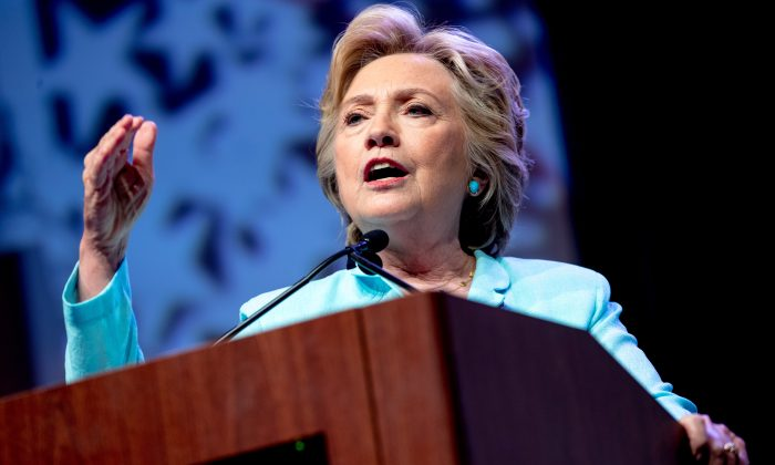 Democratic presidential candidate Hillary Clinton speaks at the 2016 National Association of Black Journalists' and National Association of Hispanic Journalists' Hall of Fame Luncheon at Marriott Wardman Park in Washington, D.C., on Aug. 5, 2016. (AP Photo/Andrew Harnik)