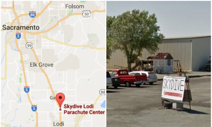Left: Location of Parachute Center in Acampo, Calif. (Screenshot of Google Maps); Right: Sign at the Parachute Center in Acampo, Calif. (Screenshot of Google StreetView)