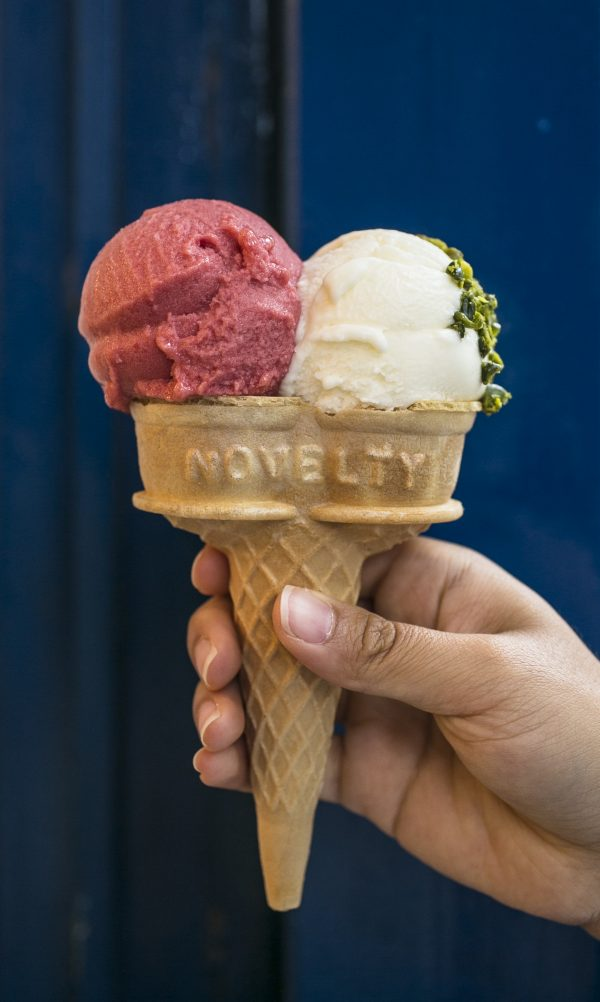 Chef Mario Batali partnered with Morgernstern's to create the Molto Modena Creamsicle flavor, with sour cherry sorbet, marscapone ice cream, and Sicilian pistachios. (Samira Bouaou/Epoch Times)