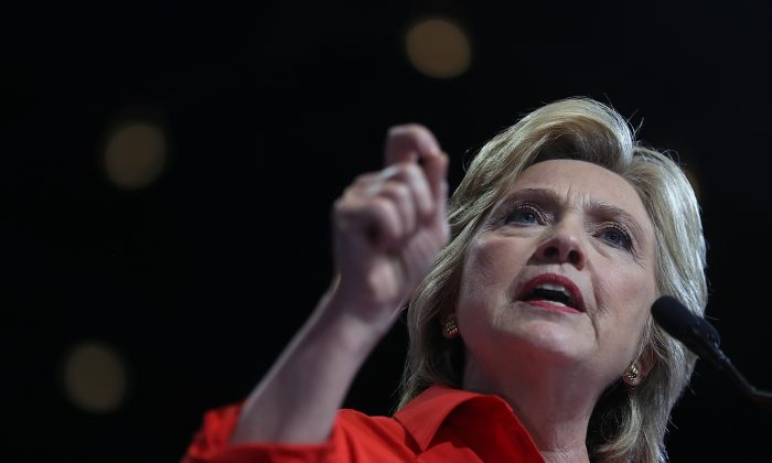 Democratic presidential nominee former Secretary of State Hillary Clinton speaks during a campaign rally with democratic vice presidential nominee U.S. Sen Tim Kaine (D-VA) at the David L. Lawrence Convention Center on July 30, 2016 in Pittsburgh, Pennsylvania. (Justin Sullivan/Getty Images)