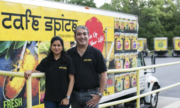Cafe Spice co-owner Sameer Malhotra and his wife Payal Malhotra, at the Cafe Spice manufacturing facility in New Windsor, New York, on July 25, 2016. (Samira Bouaou/Epoch Times)