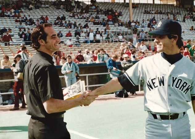 Vincent J. Bove with Yankee shortstop Bucky Dent prior to a game on April 19, 1982. Dent was MLB All-Star and 1978 World Series MVP. (Courtesy of Vincent J. Bove Publishing/Credit: Nick Ciranni)