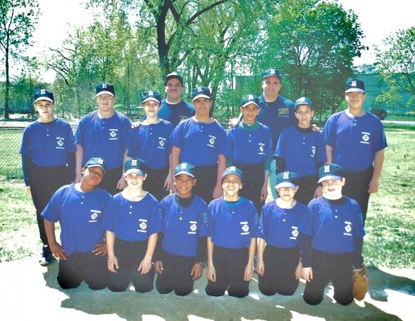 Hackensack Little League 1998 team coached by author Vincent J. Bove (top row on right). Bove's son Austin is on the bottom right. (Courtesy of Vincent J. Bove Publishing)
