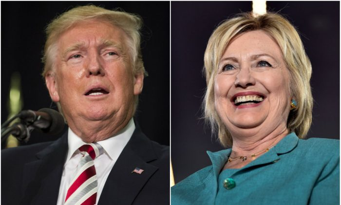 Donald Trump (L) during a rally at Windham High School in Windham, N.H., on Aug. 6, 2016. (Scott Eisen/Getty Images); Hillary Clinton (R) at the International Brotherhood of Electrical Workers Union Hall in Las Vegas, Nev., on Aug. 4, 2016. (David Becker/Getty Images)