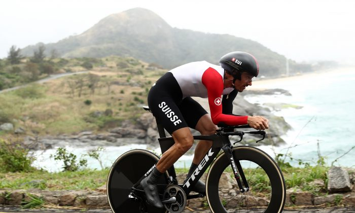 Fabian Cancellara of Switzerland competes in the Cycling Road Men's Individual Time Trial on Day 5 of the Rio 2016 Olympic Games at Pontal on August 10, 2016 in Rio de Janeiro, Brazil. (Bryn Lennon/Getty Images)