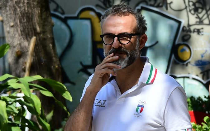 Italian chef Massimo Bottura and Brazilian chef David Hertz (not pictured) use surplus food donated by the catering companies at the Olympic park and athletes' village to feed Rio's hungry population. (TASSO MARCELO/AFP/Getty Images)