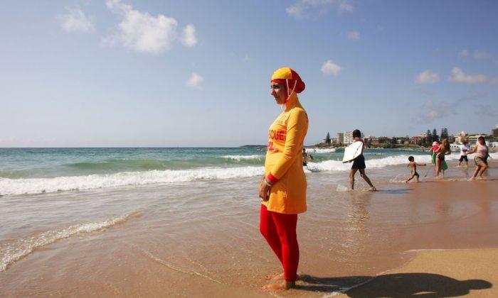 Mecca Laa Laa wears a 'burkini' on her first surf lifesaving patrol at North Cronulla Beach February 4, 2007, in Sydney, Australia.  (Matt King/Getty Images)