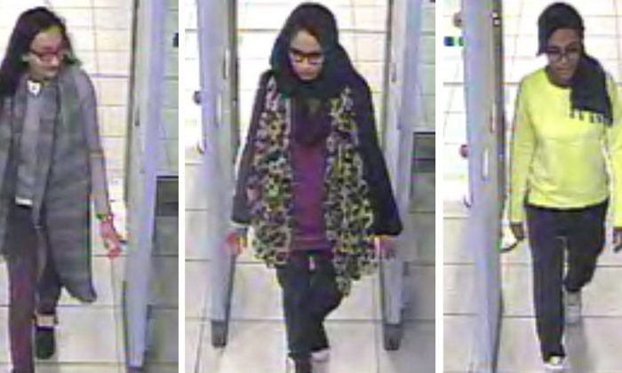 """Kadiza Sultana, left, is believed is believed to have been killed in an air strike in Syria. Sultana, Shamima Begum, center and Amira Abase fled the U.K to Turkey to become """"jihadi brides."""" (Metropolitan Police via AP)"""