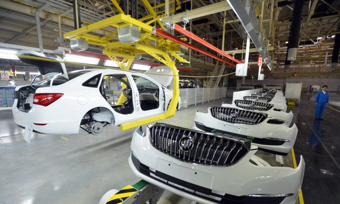 Buick cars are assembled at GM's Wuhan auto plant in Wuhan, Hubei province, in China in January 2015.(STR/AFP/Getty Images)