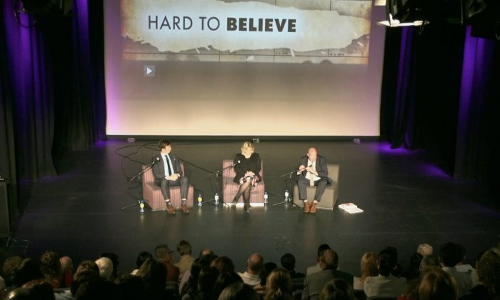 (L to R) Benedict Coyne, Dr Sarah Winch and Ethan Gutmann at the  Q and A session following the screening of 'Hard to Believe' at the Queensland Multicultural Centre, in Brisbane, on August 11, 2016. (Courtesy of Nelson Huang/NTD Television)
