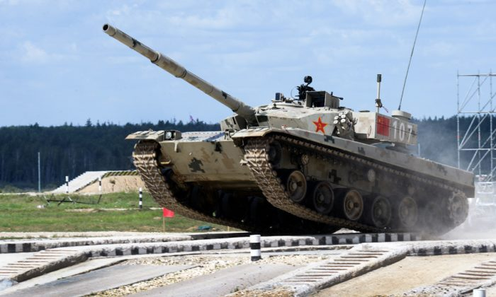 A Chinese Type-96B tank performs in Russia's Tank Biathlon in the city of Alabino. (Russian Ministry of Defense)