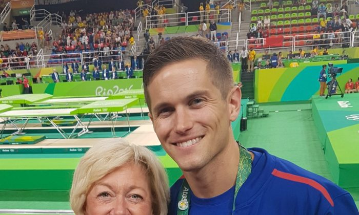 U.S. trampolinist Logan Dooley from Lake Forest, Calif. and his mother, Nancy Bettcher Dooley,  at the Olympics in Rio De Janeiro, Brazil on Aug. 13, 2016. (Courtesy of Erin Porras)