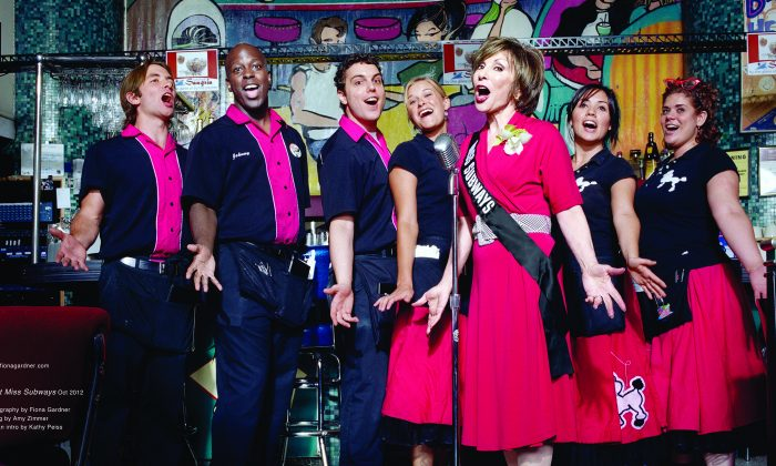 Ellen Hart with her singing staff at her diner. (Courtesy of Ellen Hart)