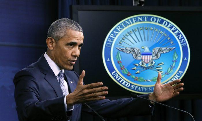 President Barack Obama during a news conference at the Pentagon in Washington, on Aug. 4, 2016. (AP Photo/J. Scott Applewhite)