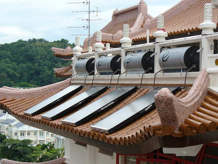 A file photo of solar panels on a temple in Singapore. (Aldwin Teo/CC BY-SA)