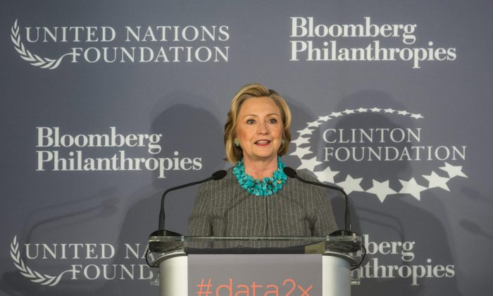 Hillary Clinton speaks at a press conference announcing a new initiative between the Clinton Foundation, United Nations Foundation and Bloomberg Philanthropies on December 15, 2014 in New York City. (Andrew Burton/Getty Images)
