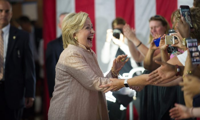 Democratic candidate for President Hillary Clinton greets supporters at a Hillary for America rally at John Marshall High School on Aug.17, 2016 in Cleveland, Ohio. (Jeff Swensen/Getty Images)