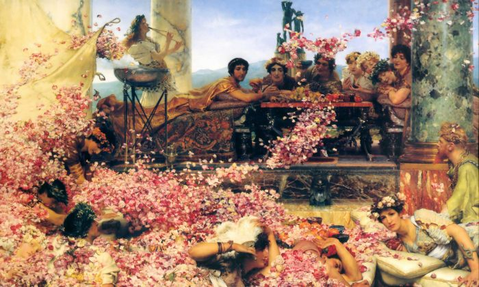 """""""The Roses of Heliogabalus,"""" 1888, by Sir Lawrence Alma-Tadema (Dutch/British, 1836–1912). Oil on canvas, 52 inches by 84 1/4 inches. Private collection. (Courtesy of the Art Renewal Center)"""