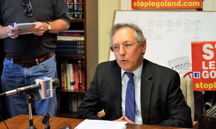 Attorney Michael Sussman announces that petitions were submitted to the Goshen Town Board regarding local laws affecting the LEGOLAND project in Goshen on Aug. 24, 2016. (Yvonne Marcotte/Epoch Times)