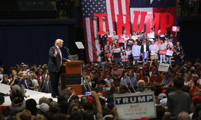 Republican Presidential nominee Donald Trump  in Austin, Texas on August 23, 2016. Thousands of attended Trump's address in Austin, traditionally a a progressive bastion in conservative Texas.  (John Moore/Getty Images)