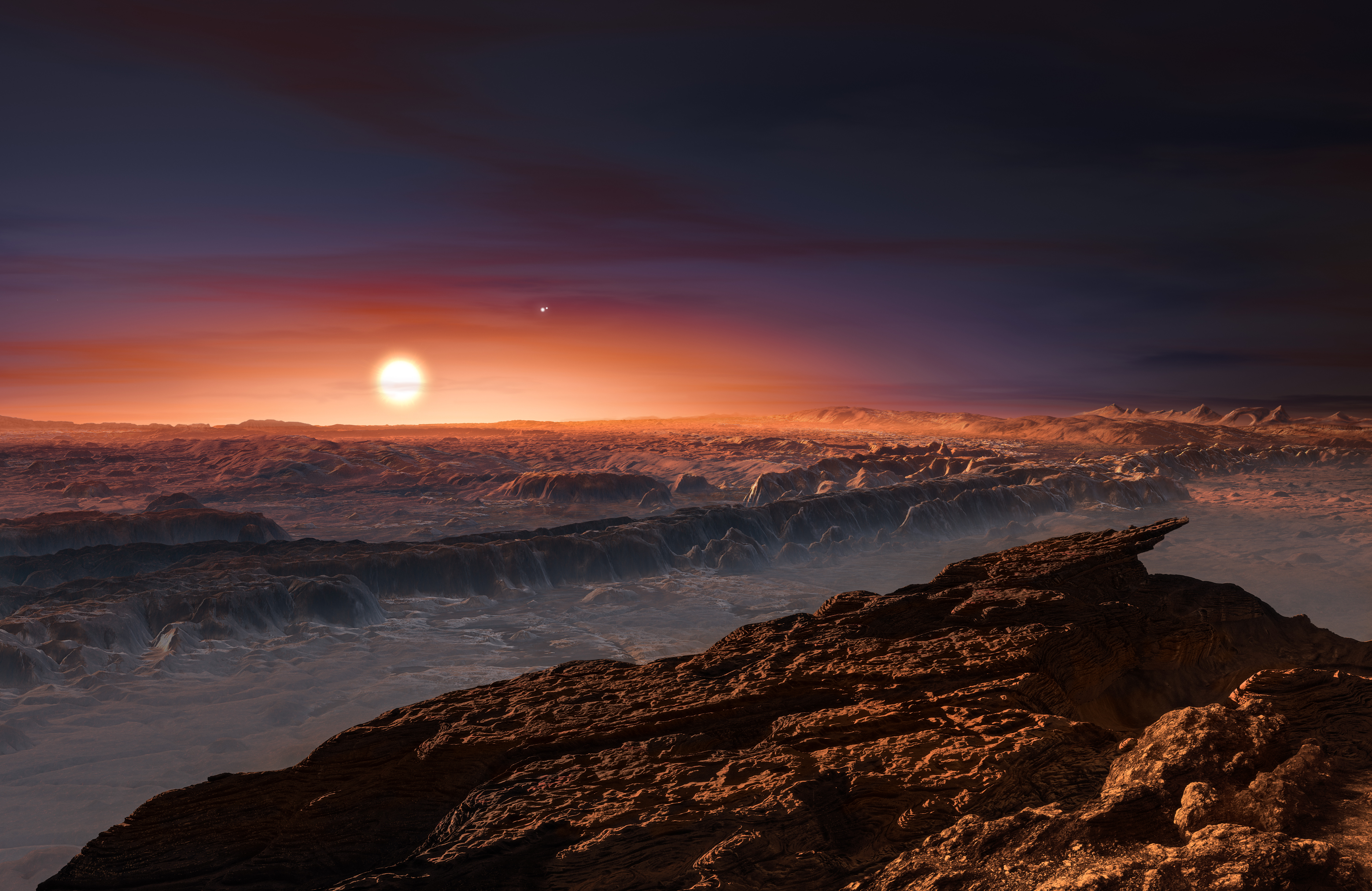 This artist's impression shows a view of the surface of the planet Proxima b orbiting the red dwarf star Proxima Centauri, the closest star to the Solar System. (ESO/M. Kornmesser)