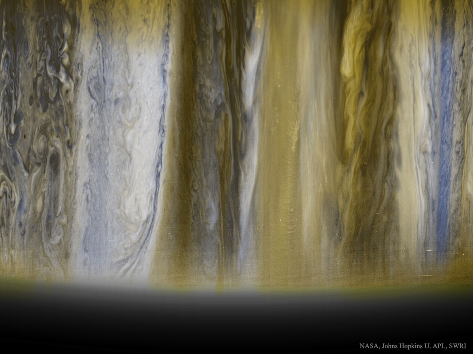 Jupiter's clouds are seen in images taken by the New Horizons spacecraft on its way out to Pluto. Famous for its Great Red Spot, Jupiter is also known for its regular, equatorial cloud bands, visible through even modest sized telescopes. (NASA, Johns Hopkins U. APL, SWRI)