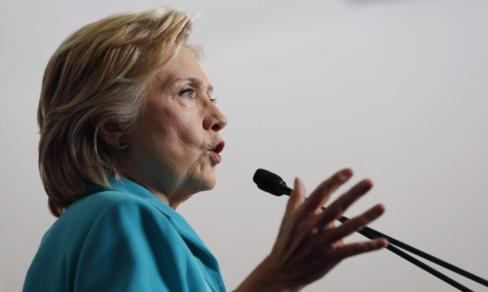Democratic presidential candidate Hillary Clinton at a campaign event at Truckee Meadows Community College, in Reno, Nev., Thursday, Aug. 25, 2016. (AP Photo/Carolyn Kaster