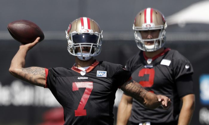 San Francisco 49ers quarterback Colin Kaepernick will get one more chance to impress coach Chip Kelly before the team announces whether he'll be the starter or not. (AP Photo/Marcio Jose Sanchez)