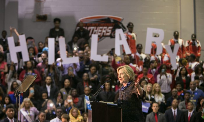 "Democratic presidential candidate Hillary Clinton speaks during an ""African Americans For Hillary"" rally at Clark Atlanta University on October 30, 2015 in Atlanta, Georgia. Clinton talked about criminal justice reform in her address to the crowd. (Jessica McGowan/Getty Images)"