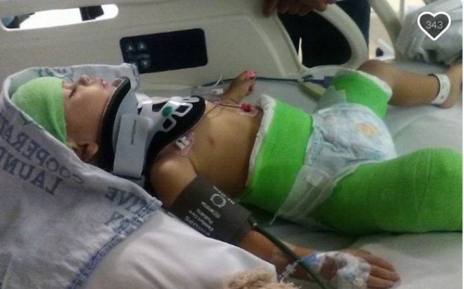 Baby Isaiah is in a body cast after his father, Nathan Weitzel intentionally crashed his vehicle in  Arapahoe County on Aug. 2. (GoFundMe/NaNaLopez)