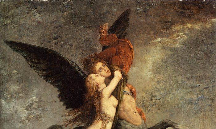 """""""The Chimera,"""" 1867, by Gustave Moreau (French, 1826–1898). Oil on panel, 13 inches by 10 3/4 inches. (Fogg Art Museum)"""