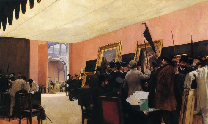 """The Jury for Painting, Salon des Artistes Français,"" 1885, by Henri Gervex (French, 1852–1929). Oil on canvas, 115 3/4 inches by 151 1/4 inches. (Musée d'Orsay)"