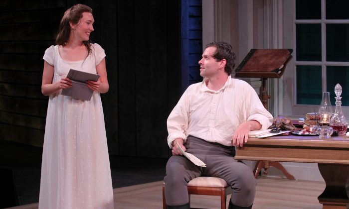 """Thomasina Coverly (Rebecca Hurd) on the eve of her 16th birthday, with her tutor, Septimus Hodge ( Nate Burger), in """"Arcadia,"""" produced by the American Players Theatre. (Carissa Dixon)"""