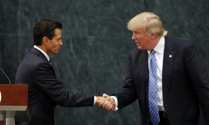 Mexico President Enrique Pena Nieto and Republican presidential nominee Donald Trump after a joint statement at Los Pinos, the presidential official residence, in Mexico City, Wednesday, Aug. 31, 2016. (AP Photo/Dario Lopez-Mills)
