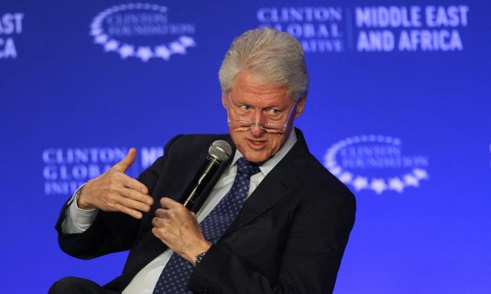 Former President Bill Clinton speaks during a plenary session at a Clinton Global Initiative meeting in Marrakech, Morocco, on May 6, 2015. (AP Photo/Abdeljalil Bounhar)