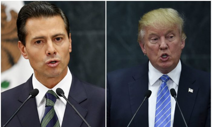 (L-R) Mexican President Enrique Pena Nieto in Mexico City on Aug. 31, 2016 (AP Photo/Dario Lopez-Mills); US presidential candidate Donald Trump delivers a joint press conference with Pena Nieto in Mexico City on Aug. 31, 2016. (Yuri Cortez/AFP/Getty Images)