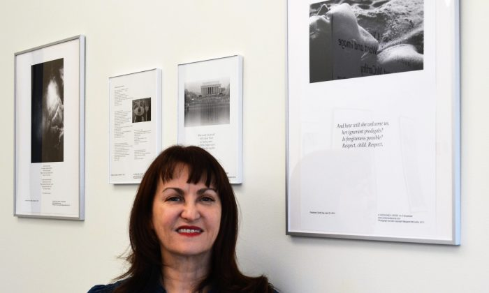 Photographer and poet Margaret McCarthy at an exhibit of her work at the Mindy Ross Gallery at SUNY Orange-Newburgh on Aug. 27, 2016. (Yvonne Marcote/Epoch Times)