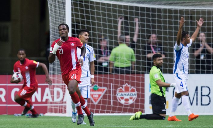 Canada's Cyle Larin celebrates after scoring against El Salvador in FIFA World Cup qualifying action in Vancouver on Sept. 6, 2016. (The Canadian Press/Darryl Dyck)