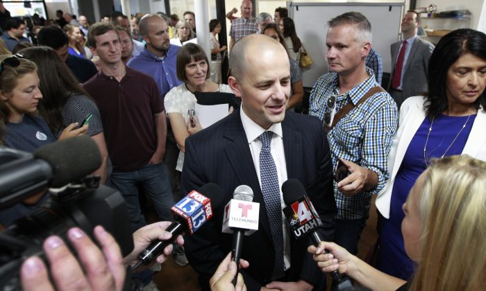 Former CIA agent Evan McMullin after announcing his presidential campaign as an Independent candidate on August 10, 2016 in Salt Lake City, Utah. (George Frey/Getty Images)