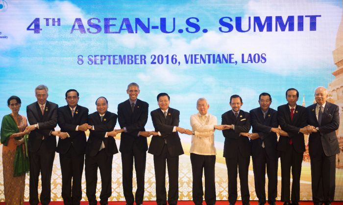 ASEAN leaders and U.S. President Barack Obama gather in Vientiane for the 28th and 29th ASEAN Summits held between September 6 to 8. (YE AUNG THU/AFP/Getty Images)