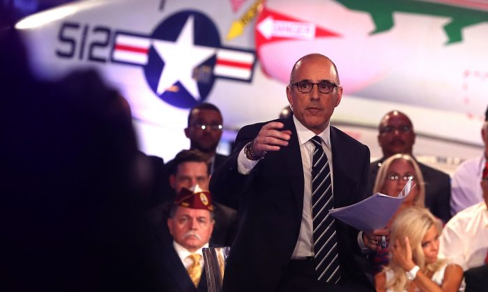 NBC host Matt Lauer during the NBC News Commander-in-Chief Forum with presidential nominees Hillary Clinton and Donald trump, in New York City on Sept. 7, 2016. (Justin Sullivan/Getty Images)