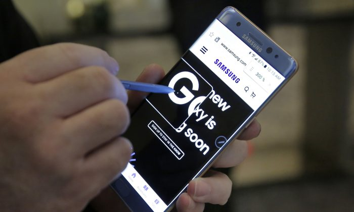 Samsung Galaxy Note 7 in New York in July 28, 2016. A series of issues with the Galaxy Note 7 has caused a severe damage to Samsung's reputation. (AP Photo/Richard Drew)