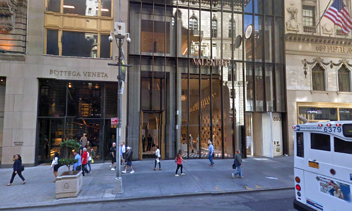 Valentino on 5th Avenue in New York City. Police have released surveillance footage of the man suspected of burning the blouse of a Muslim woman on Sept. 10. (Google Maps)