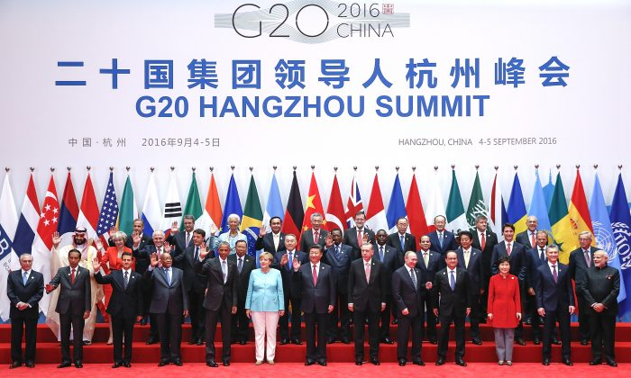 Leaders pose for a group photo during the G20 Summit in Hangzhou, China, on on Sept. 4, 2016. (Lintao Zhang/Getty Images)