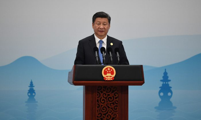 Chinese Chairman Xi Jinping delivers his closing statement for the G20 Summit in Hangzhou on Sept. 5, 2016. (Johannes Eisele/AFP/Getty Images)