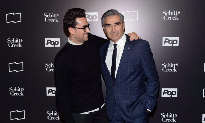 "Canadian actor Dan Levy and his father, actor/comedian Eugene Levy, attend the screening of the CBC sitcom ""Schitt's Creek"" during the 11th Annual New York Television Festival on Oct. 22, 2015, in New York. (Photo by Evan Agostini/Invision/AP)"