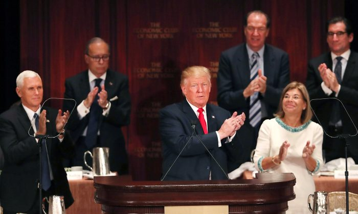 Republican presidential candidate Donald Trump  at a lunch hosted by the Economic Club of New York on September 15, 2016 in New York City. (Spencer Platt/Getty Images,)
